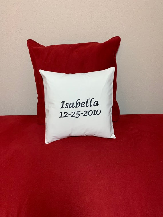 Personalized Birthday Embroidered Pillow