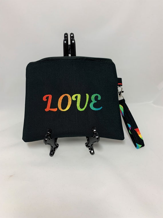 Rainbow Love Embroidered Wristlet