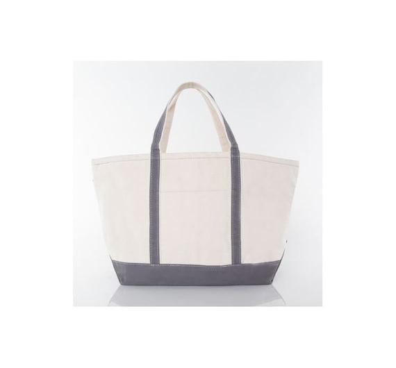 Gray Large Monogrammed Tote Bag