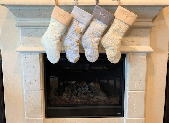 Embroidered Christmas Stockings - Gold / Silver