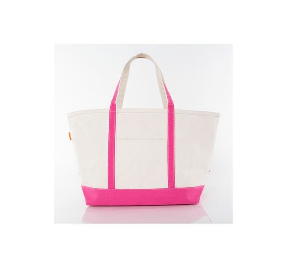 Hot Pink Medium Monogrammed Tote Bag