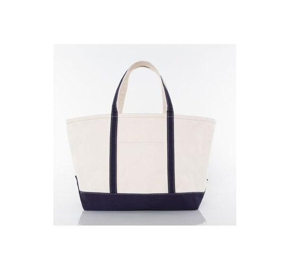 Navy Blue Large Monogrammed Tote Bag