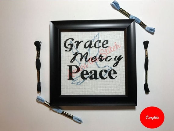 Grace Mercy Peace - Dove Cross Stitch Framed / Completed