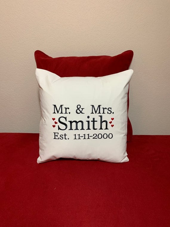 Personalized Wedding Embroidered Pillow