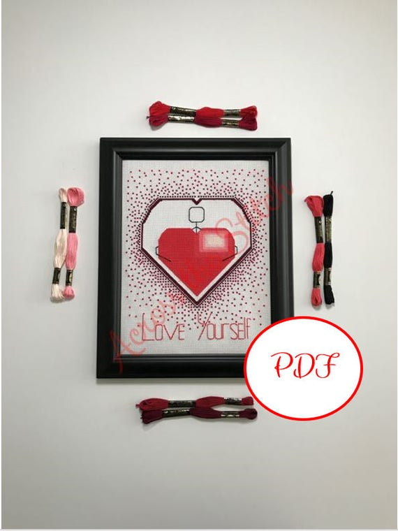 Love Yourself Heart Cross Stitch Pattern - PDF Download