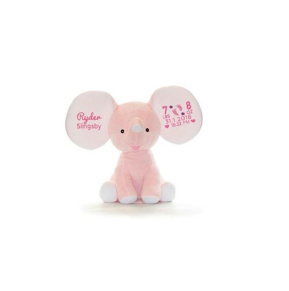 Personalized Stuffed Pink Elephant