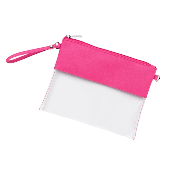 Hot Pink Monogrammed Clear Purse