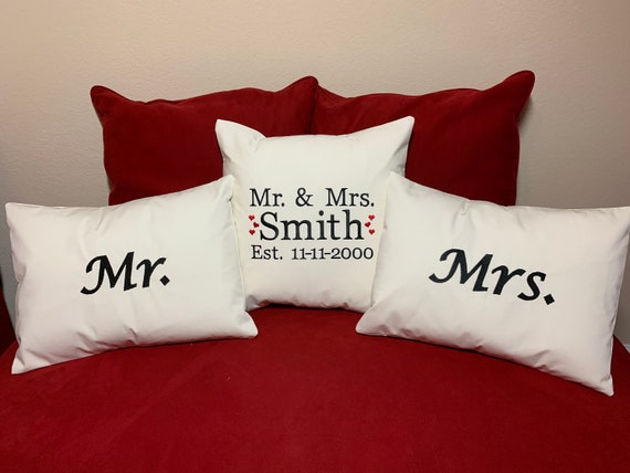 Personalized Wedding Embroidered Pillow Set