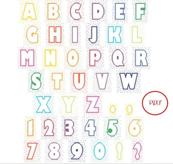 Large Confetti Letters Cross Stitch Pattern - PDF download