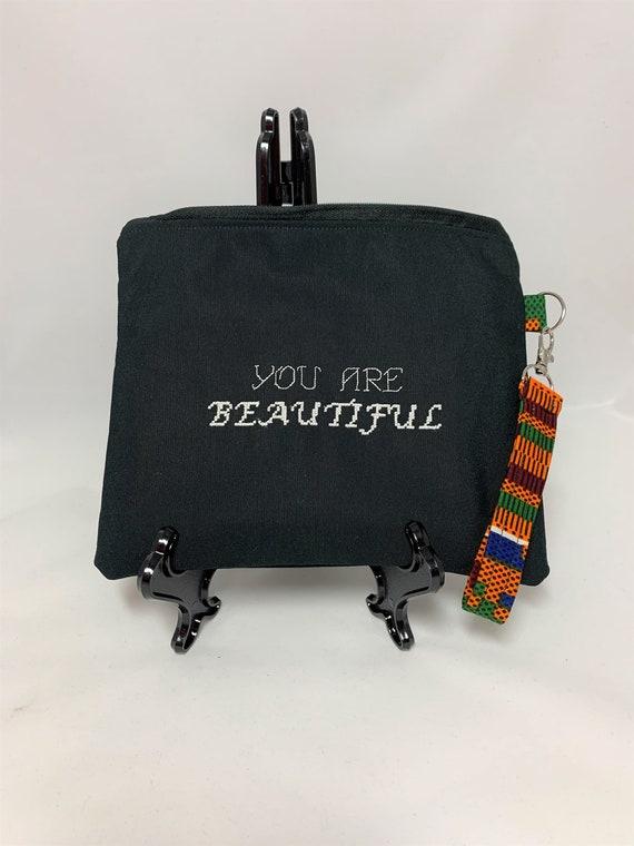 Black Embroidered Wristlet