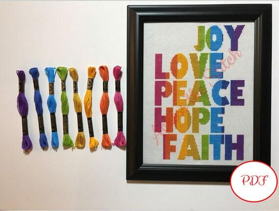 Joy Love Peace Hope Faith (Vertical) Cross Stitch Pattern - PDF Download