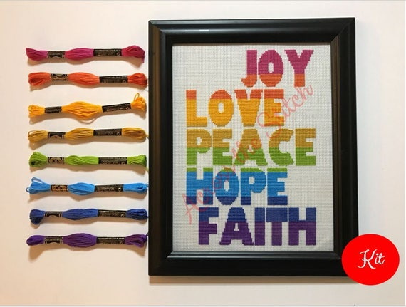 Joy Love Peace Hope Faith (Horizontal) Cross Stitch Kit