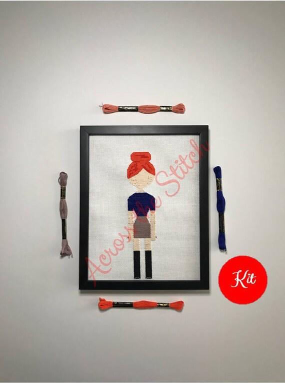 Girl Cross Stitch Kit - Autumn