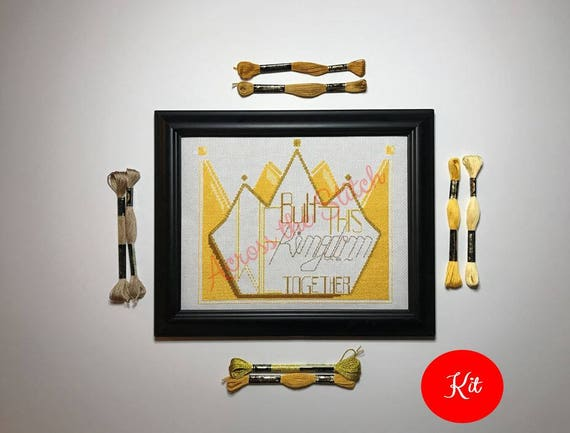 Crown Cross Stitch Kit - We Built This Kingdom Together