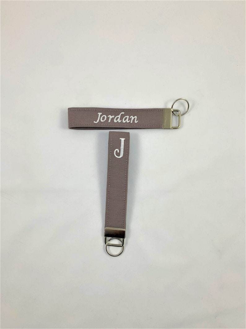 Fabric Keychain Key Fob Wristlet with Keychain Wrist Lanyard for Keys Gray Monogrammed Keychain Wristlet Fabric Key fob keychain