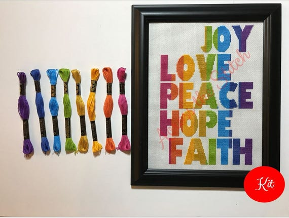 Joy Love Peace Hope Faith (Vertical) Cross Stitch Kit