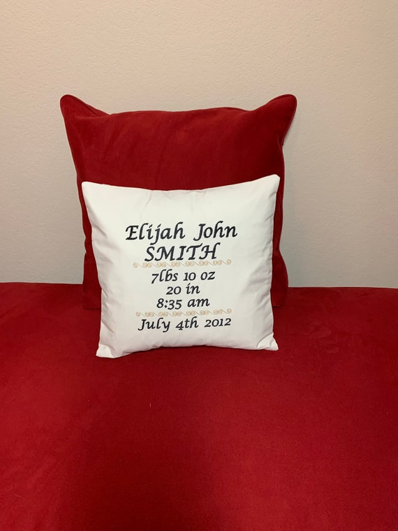 Personalized Birth Announcement Embroidered Pillow