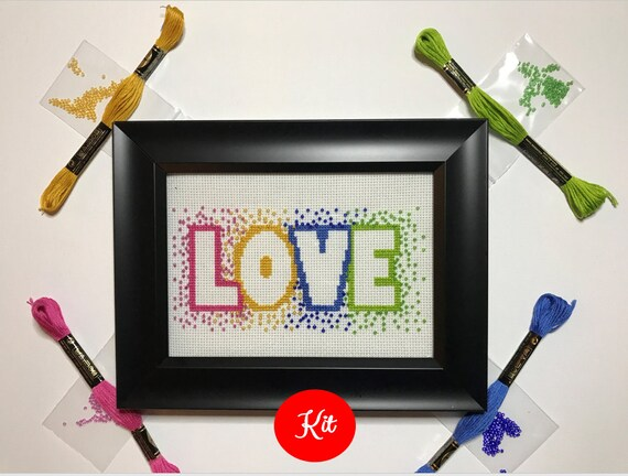 Love Cross Stitch with Beads Kit