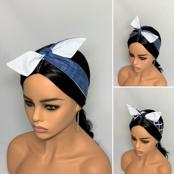 Navy/Blue Dolly Bow  Headbands