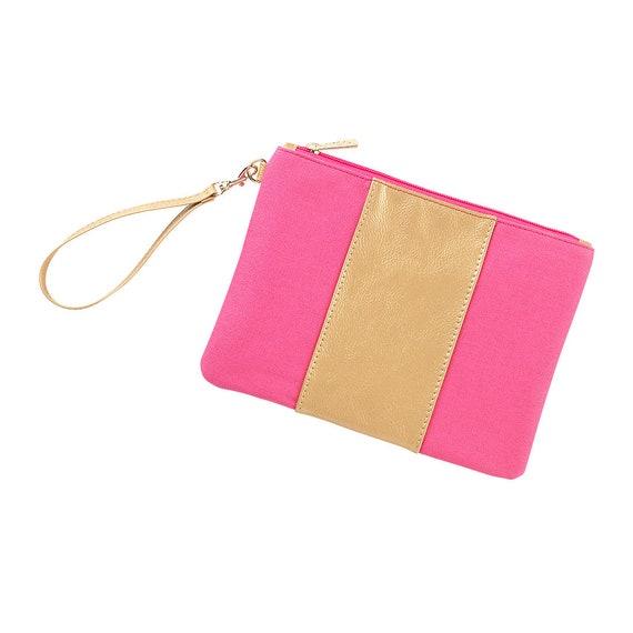 Hot Pink Monogrammed Cabana Wristlet