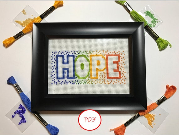Hope Cross Stitch with Beads Pattern - PDF download