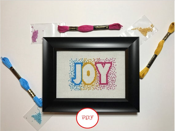 Joy Cross Stitch with Beads Pattern - PDF download