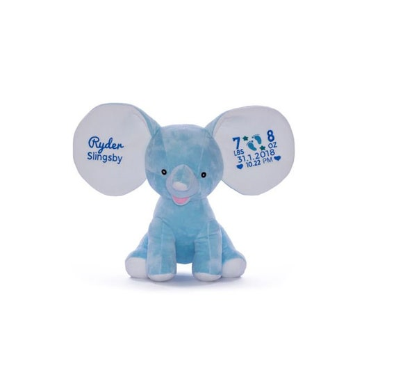 Personalized Stuffed Blue Elephant
