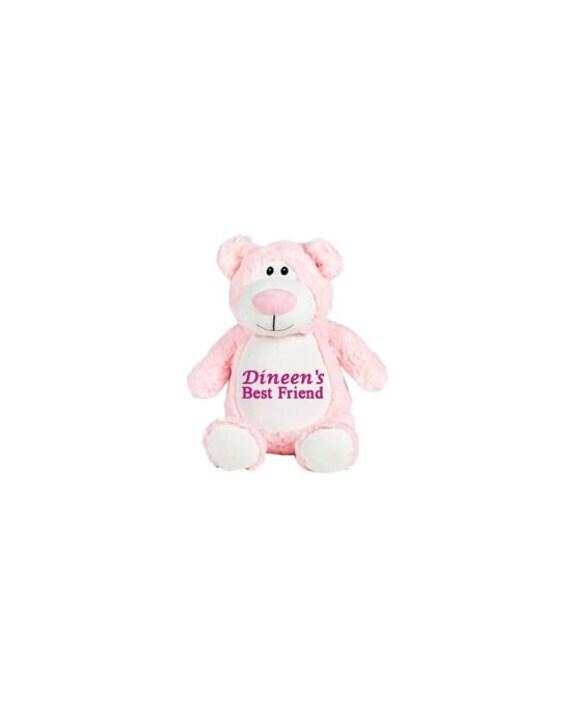 Personalized Stuffed Pink Bear