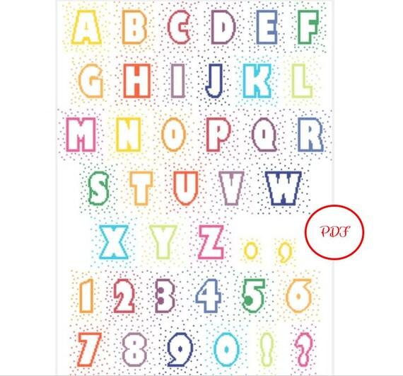 Medium Confetti Letters Cross Stitch Pattern - PDF download