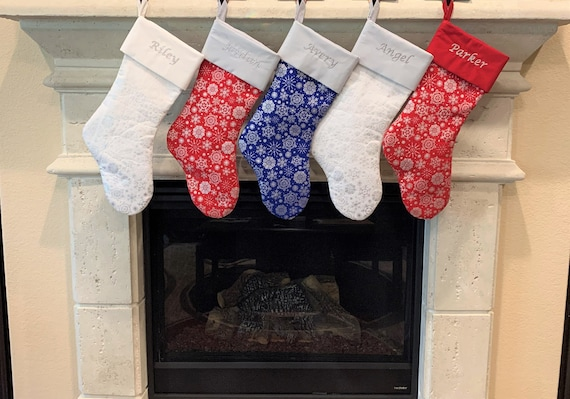 Embroidered Christmas Stockings - Red / White / Blue