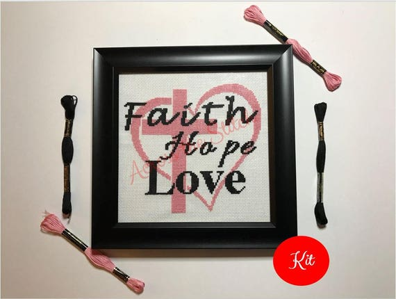 Faith Hope Love - Heart Cross Stitch Kit