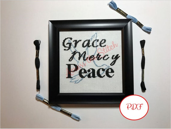 Grace Mercy Peace - Dove Cross Stitch Pattern
