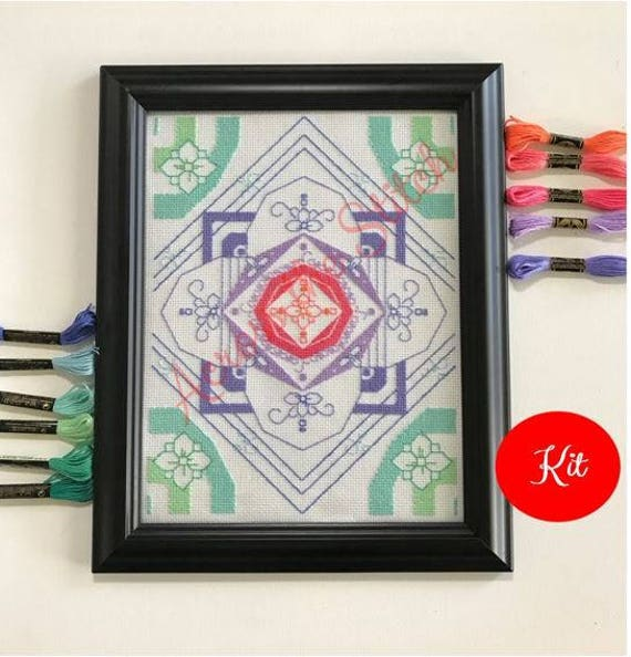 Pastel Flower Mandala Cross Stitch Kit