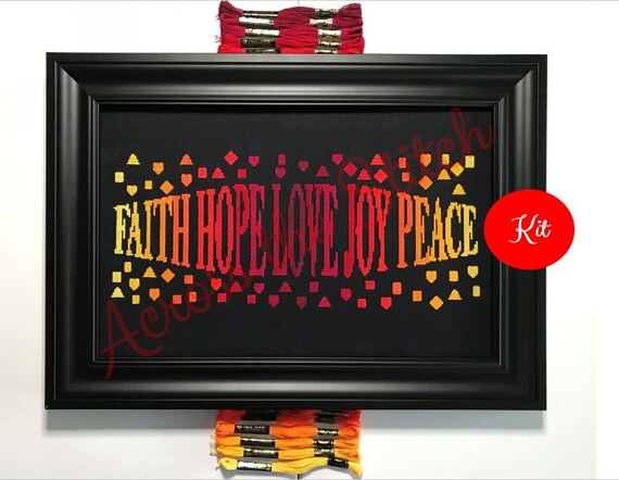 Hope Faith Love Joy Peace Cross Stitch Kit - Warm Colors