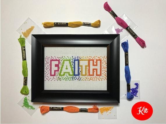Faith Cross Stitch with Beads Kit