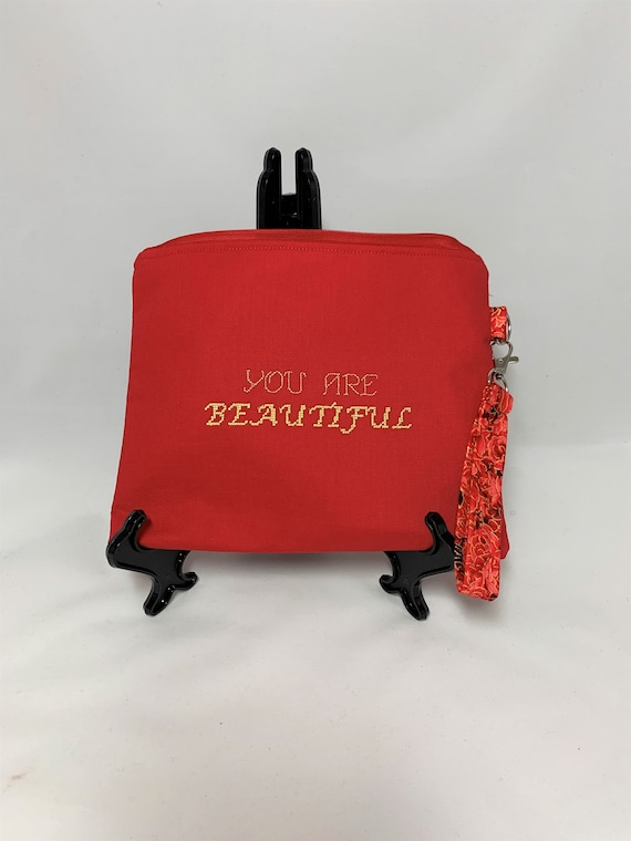 Red Embroidered Wristlet