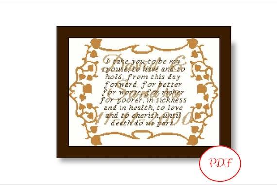 Marriage Vows Cross Stitch Pattern - PDF Download