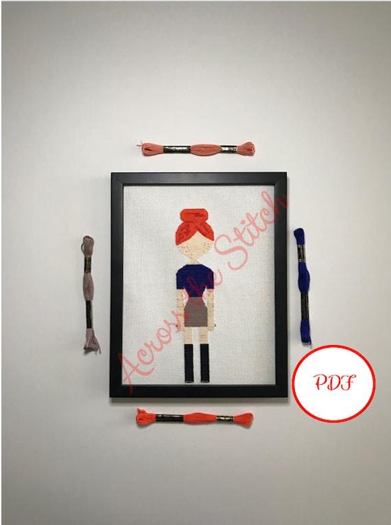 Girl Cross Stitch Pattern - Autumn - PDF download