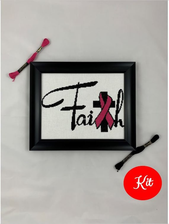 Faith with Pink Ribbon / Breast Cancer Cross Stitch Kit
