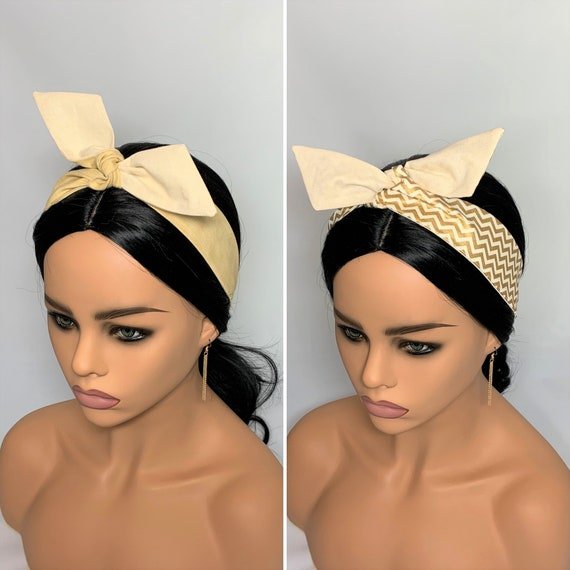 Tan or Gold Dolly Bow Headbands