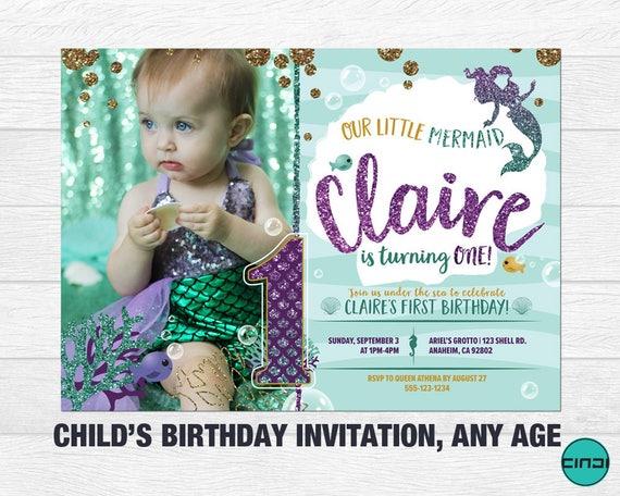 Mermaid First Birthday Invitation 1st Under The Sea 1ST BIRTHDAY Invite Girl