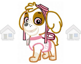 """Pink Military Puppy Applique Design 3 sizes """"Instant download"""""""