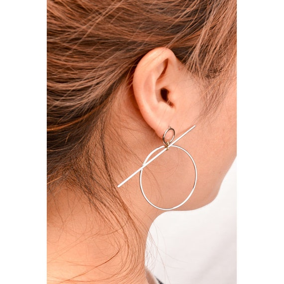 Gold Plated Long Treader Unique Trendy Indie Chic Simplistic Earrings