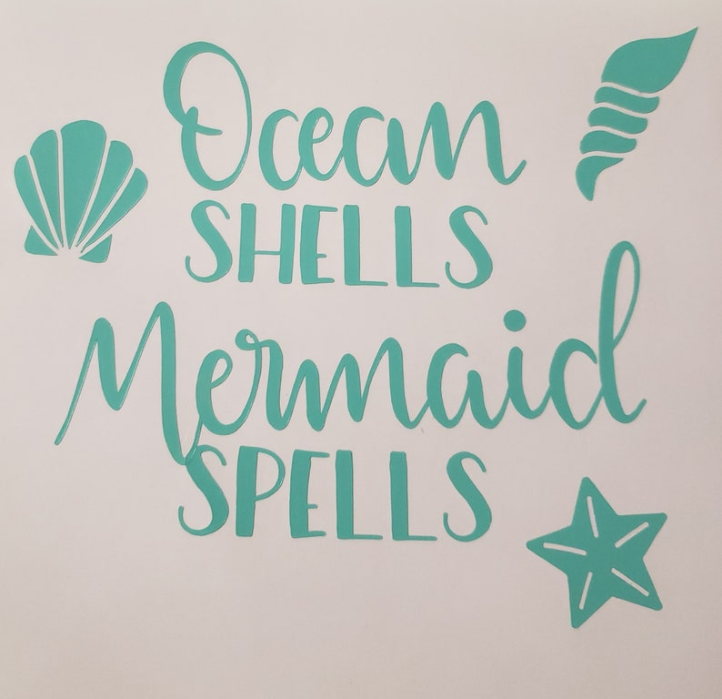Ocean Shells and Mermaid spells decal  Free shipping