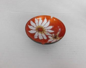 Vintage Mid century modern enameled flowers ashtray