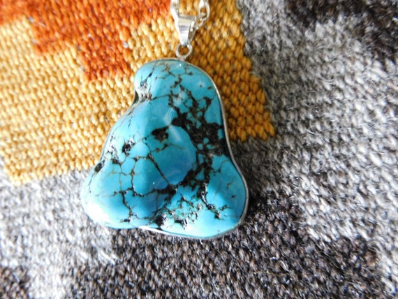 Vintage Large turquoise Necklace with chain