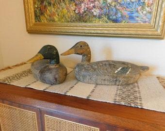 Vintage Carved Wood Duck Decoys Mallards