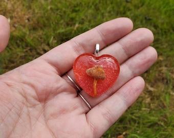 Oregon Mushroom, Heart Shaped Resin Pendant