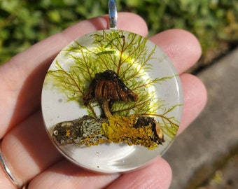 Mica Cap Mushroom Sitting on a Lichen Covered Twig, Resin Pendant