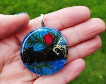 Tiny Rosebud and Moss Pendant